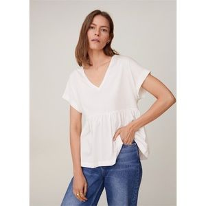 Mango Ruffle Cotton T-Shirt in Off White.